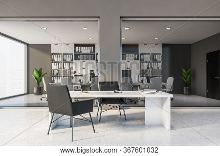 Front View Of Stylish Ceo Office With Gray Walls, Tiled Floor, Panoramic Window With Blurry Cityscap