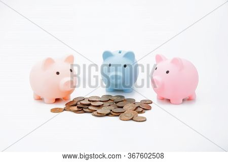 Three Piggybank And Money On White Background. Finance And Savings Concept