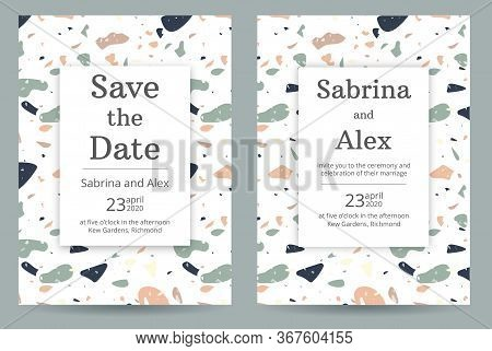 Wedding Invitation With Terrazzo Pattern. Set With Invitation And Save The Date Card On Peach And Gr