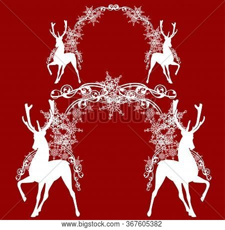 Standing Antler Deer With Festive New Year  Or Xmas Arch Made Of Snowflakes - Monochrome Vector Silh