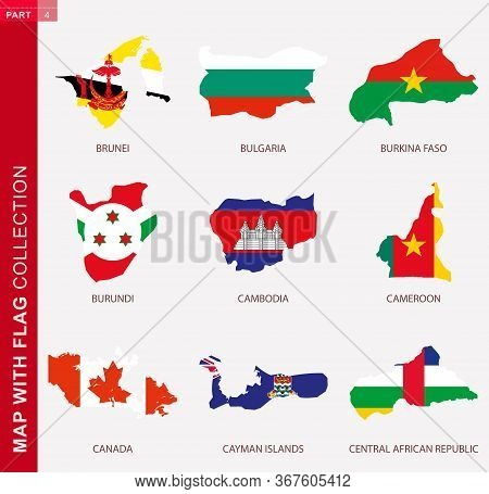 Map With Flag Collection, Nine Map Contour With Flag Of Brunei, Bulgaria, Burkina Faso, Burundi, Cam