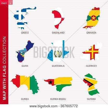 Map With Flag Collection, Nine Map Contour With Flag Of Greece, Greenland, Grenada, Guam, Guatemala,