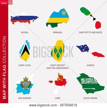 Map With Flag Collection, Nine Map Contour With Flag Of Russia, Rwanda, Saint Kitts And Nevis, Saint