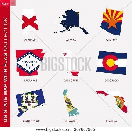 Us State Maps With Flag Collection, Nine Usa Map Contour With Flag Of Alabama, Alaska, Arizona, Arka