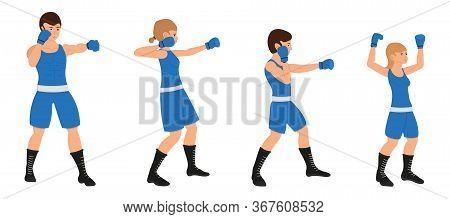Boxing Family, Man, Woman, Boy And Girl Are Engaged In Boxing. Father, Mother, Son And Daughter Are