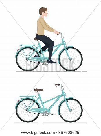 Guy Rides A Bicycle, Character And Bike In Cartoon Style, Side View, Active Lifestyle, Sporty Man, C