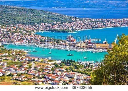 Trogir Riviera. Troagir Bay And Ciovo Island View From The Hill, Dalmatia Region Of  Croatia