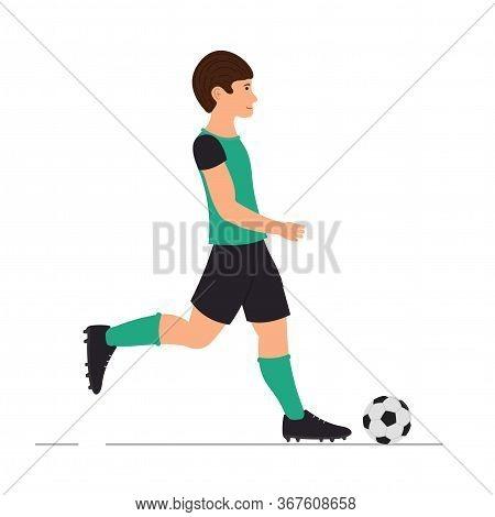 Man Plays Football, Soccer Player, Man Kicks A Soccer Ball Vector Illustration In Cartoon Style.