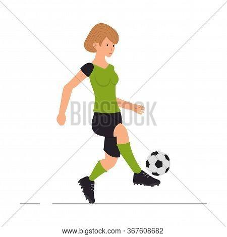 Girl Plays Football, Soccer Player, Woman Kicks A Soccer Ball Vector Illustration In Cartoon Style