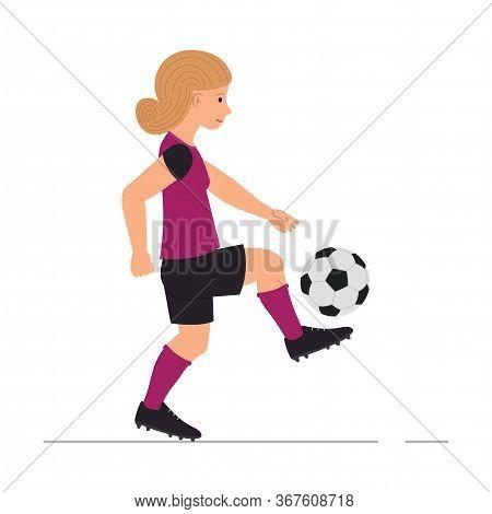 Teenager Girl Playing Football, Little Girl Kicks A Soccer Ball Vector Illustration In Cartoon Style