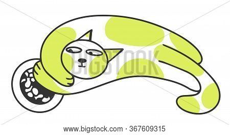 Funny Greedy Cat Is Eating Vector Illustration Doodle Style