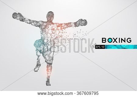 Abstract Silhouette Of A Wireframe Boxer Fighter With Boxing Gloves On The White Background. Boxer I