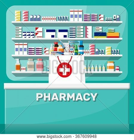 Modern Interior Of Pharmacy. Medicine Pills Capsules Bottles Vitamins And Tablets. Drugstore Showcas