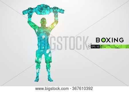 Abstract Silhouette Of A Wireframe Boxer Fighter With Boxing Gloves And Belt On The White Background