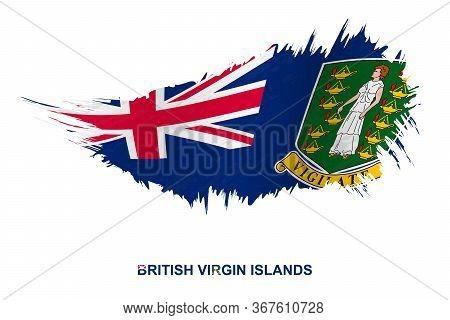 Flag Of British Virgin Islands In Grunge Style With Waving Effect, Vector Grunge Brush Stroke Flag.