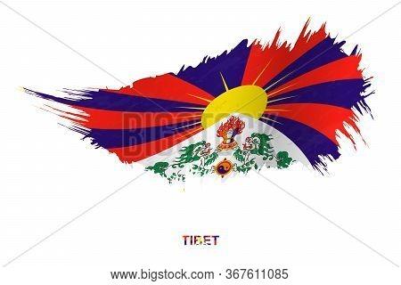 Flag Of Tibet In Grunge Style With Waving Effect, Vector Grunge Brush Stroke Flag.