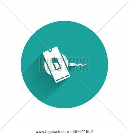 White Smartphone Charging On Wireless Charger Icon Isolated With Long Shadow. Charging Battery On Ch