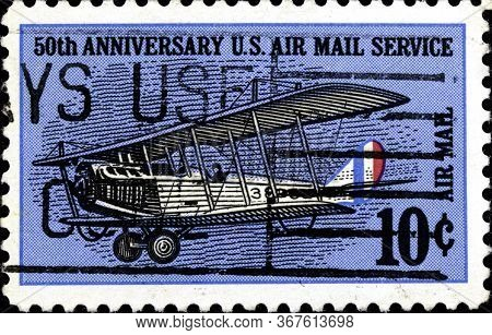02 10 2020 Divnoe Stavropol Territory Russia Postage Stamp Usa 1968 50th Anniversary Of Air Mail Cur
