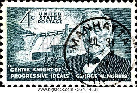02.11.2020 Divnoe Stavropol Territory Russia The Postage Stamp United States 1961 Senator George W.