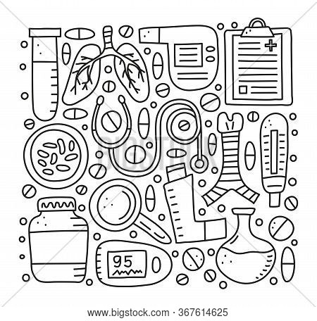 Set Of Doodle Outline Pulmonology Items, Including Lungs, Trachea, Spirometer, Loupe, Bacteria, Puls