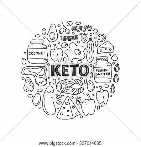 Doodle Outline Black And White Foods For Ketogenic Diet Including Cheese, Meat, Salmon, Avocado, Egg
