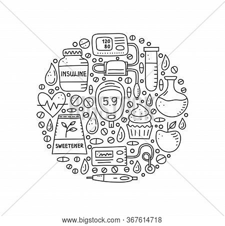 Doodle Outline Diabetes Items, Including Insulin Pen, Pump, Tonometer, Blood Drop, Glucometer, Flask