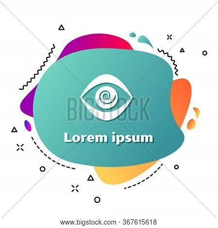 White Hypnosis Icon Isolated On White Background. Human Eye With Spiral Hypnotic Iris. Abstract Bann