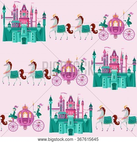 Fairytale Medieval Castles And Princess Fantasy Carriages With Coachmen And Horses. Seamless Backgro