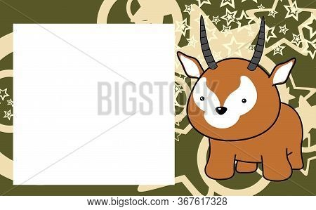 Cute Kawaii Antelope Cartoon Frame Picture Background In Vector Format