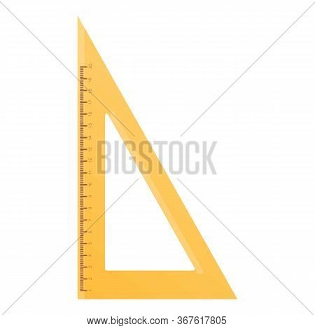 Wood Angle Ruler Icon. Cartoon Of Wood Angle Ruler Vector Icon For Web Design Isolated On White Back