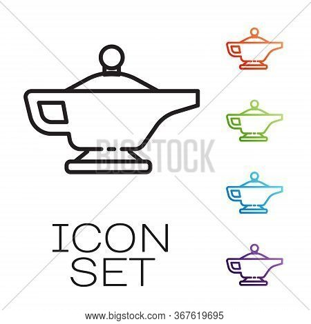 Black Line Magic Lamp Or Aladdin Lamp Icon Isolated On White Background. Spiritual Lamp For Wish. Se
