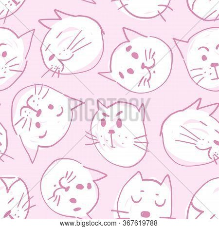 Cute Seamless Hand Drawn Vector Pattern With Cats In Various Mood Muzzles On Pink Background. Funny