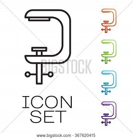 Black Line Clamp And Screw Tool Icon Isolated On White Background. Locksmith Tool. Set Icons Colorfu