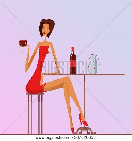 Lonely Woman In Red Dress Sits On A Chair At A Table With Glass Of Wine. She Reaches For Glass Of Wi