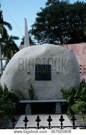 Santiago De Cuba, Santiago De Cuba Province, Cuba - January 12, 2020: Tomb Of Fidel Castro At Santa