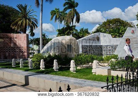 Santiago De Cuba, Santiago De Cuba Province, Cuba - January 12 2020 : Tomb Of Fidel Castro At Santa
