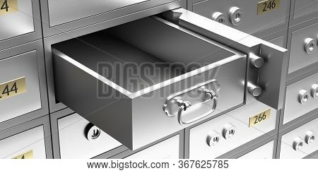 Safe Bank Deposit Box Open With Empty Drawer. 3D Illustration
