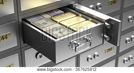 Safe Bank Deposit Box With Money Banknotes And Gold Bars In A Drawer. 3D Illustration