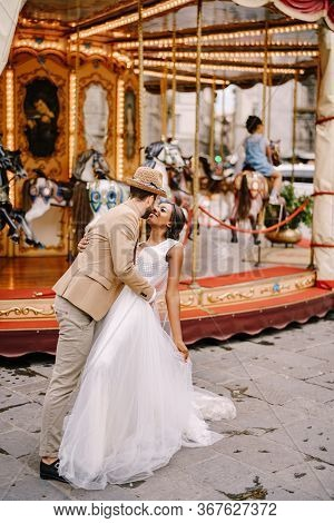 Wedding In Florence, Italy. Multiethnic Wedding Couple. African-american Bride And Caucasian Groom N