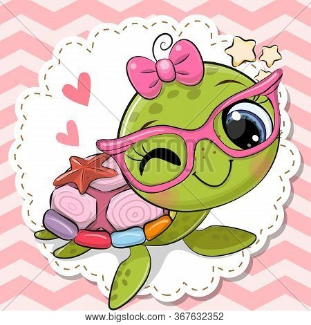 Cute Cartoon Turtle Girl In Pink Eyeglasses With A Bow