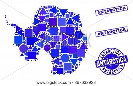 Vector Mosaic Antarctica Continent Map. Geographic Collage In Blue Color Tints, And Grunge Round And