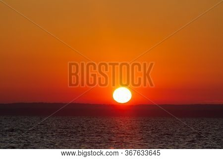 Sunset Over The River In Ukraine. Amazing Background