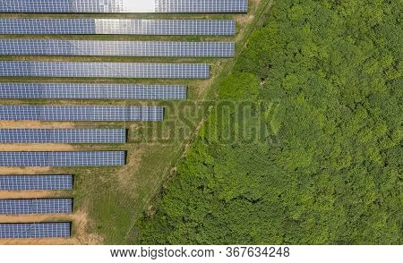 Solar Panels Selective Focus, Solar Plants Are Devices That Convert Sunlight Into Electricity.solar