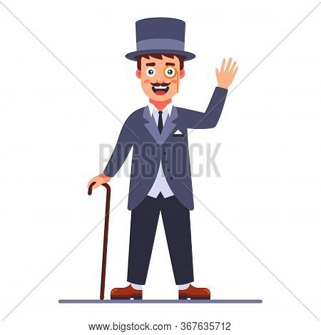 Lord In The Cylinder And A Cane In His Hand. 19th Century English Dandy. Flat Character Vector Illus