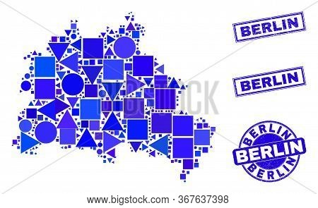 Vector Mosaic Berlin City Map. Geographic Plan In Blue Color Tinges, And Textured Round And Rectangl