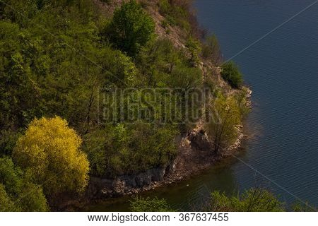 Zigzag River Flows Between Summer Valleys. Dniester River