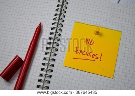No Excuses! Write On Sticky Note Isolated On A Book.