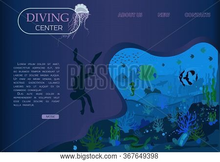 Scuba Diving, Scuba Diving And Marine Life In A Flat Design. Vector Of Underwater Seascape Underwate