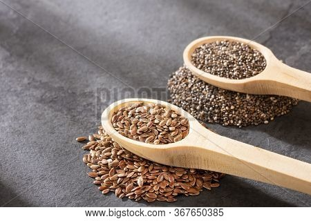 Organic Chia And Linseed Seeds. Text Space