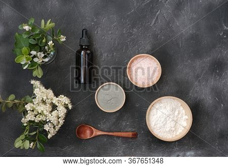 Making Clay Mask At Home, Ingredients For Mask For Clean And Smooth Skin. Essential Oil, Clay And Pi